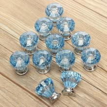 12X Blue Diamond Shape Crystal Glass Cabinet Knob Cupboard Drawer Pull Handle PML