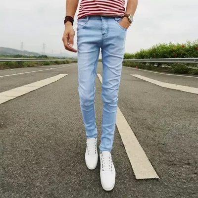 2017 Fashion Summer Casual Jeans Men Pencil Pants Full length Solid Blue Pants Slim Denim Skinny Jeans Men Free Shipping A002Одежда и ак�е��уары<br><br><br>Aliexpress