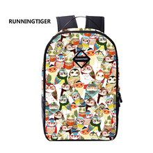 RUNNINGTIGER Graffiti Owl Printing Backpack space Women Bags Ethnic style Girl Cartoon Bag Cute Schoolbags For women