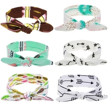 Multi Colors Print Flowers Cotton Kids Rabbit Ear Bows Soft Hair Bands for Girls Headbands Hair Accessories
