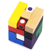 New Original Novelty 9 Colors Magic Cube Style Puzzle Educational Wooden Interlock Toy Birthday Gift Neo Cube Toys For Children(China)
