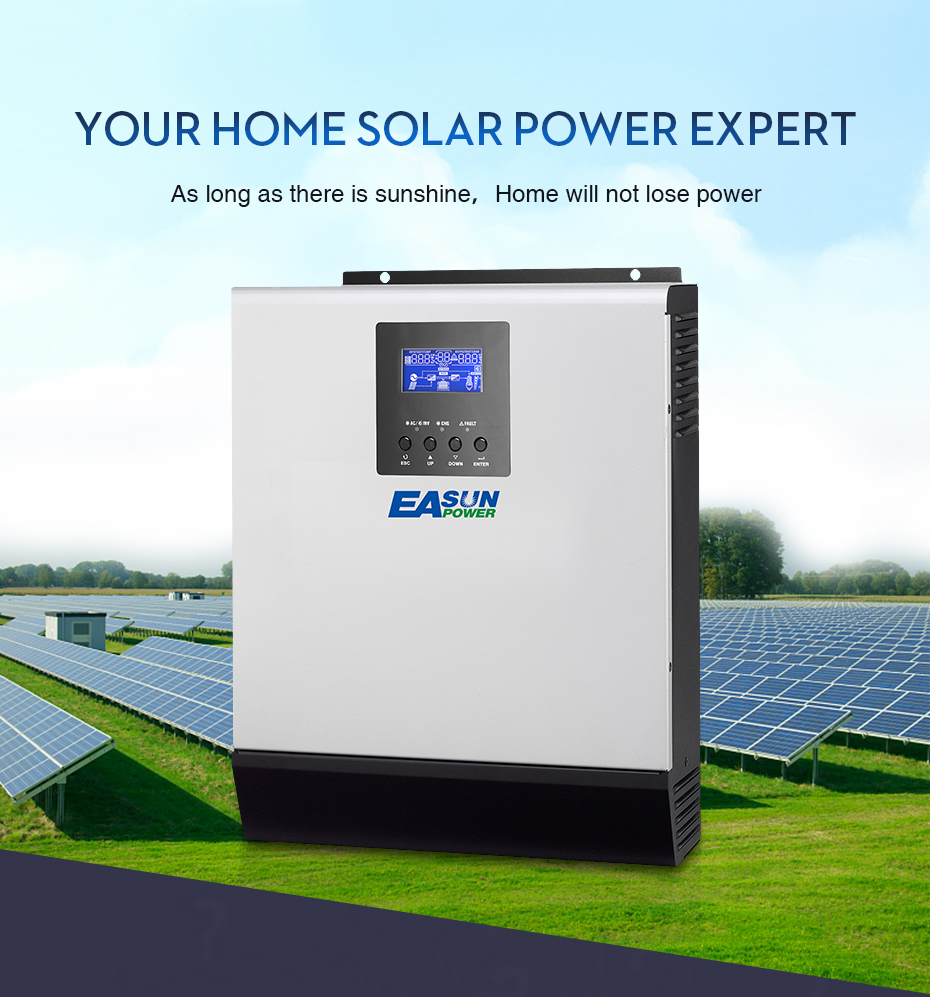 EASUN POWER 12V Solar Inverter 800W MPPT 1Kva Pure Sine Wave Inverter 40A Off Grid Inverter 110V Hybrid Inverter 20A AC _03