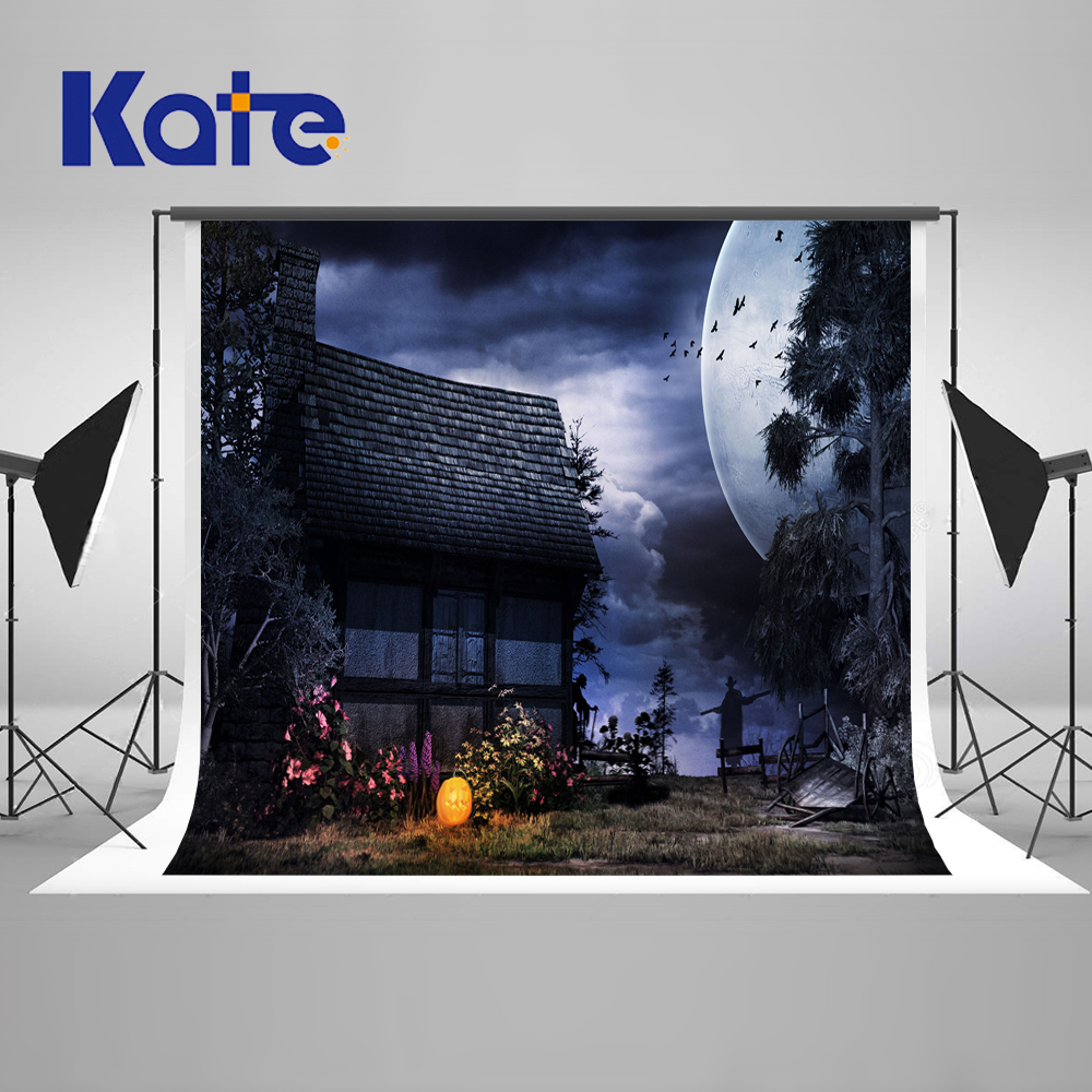 Kate Night Photo Background Halloween Old House Moon Picture Backdrops Happy Pumpkin Children Photography Backdrop <br>