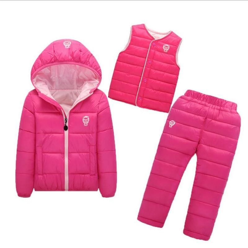 Winter children warm clothes.Children Set Boys Girls 3 Pcs Waterproof Jacket + Trousers+Vest Winter Baby  Warm Outdoot Suits<br>