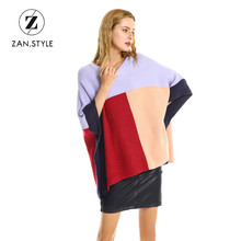 ZAN.STYLE Autumn Warm Women Color patchwork Oversized sweater O neck Batwing Sleeve Loose Knit Shawl Sweaters Pullover Jumper(China)