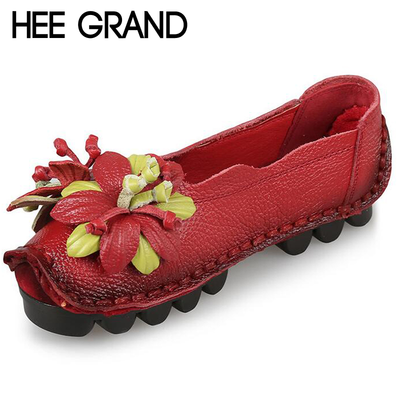 HEE GRAND Loafers Woman Super Soft PU Leather Flats Anti-Slippy Flower Bright Color Shoes Pregnant Vintage Womens Shoes XWD3284<br><br>Aliexpress