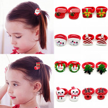LNRRABC 2PCS/Pair Christmas Tree Santa Bell Snowman Hair Rope Kids Event Headband Dress up Accessories Drop Shipping
