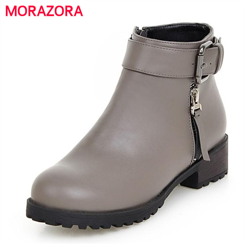 MORAZORA Womens boots spring autumn 2017 hot sale ankle boots low heels pu zipper contracted fashion boots college style<br>