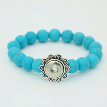 New Natrual Turquoise beads snap bangles bracelets Fit 12MM snap buttons CM's Exclusive products 55MM Flexible AB0017