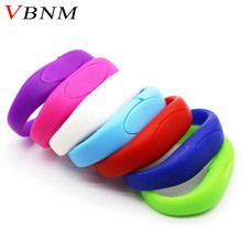 VBNM lucky silicone bracelet pendrive 8GB 16GB 32GB Usb Flash Drive Pendriver birthday gift memory stick U disk 9 colors(China)