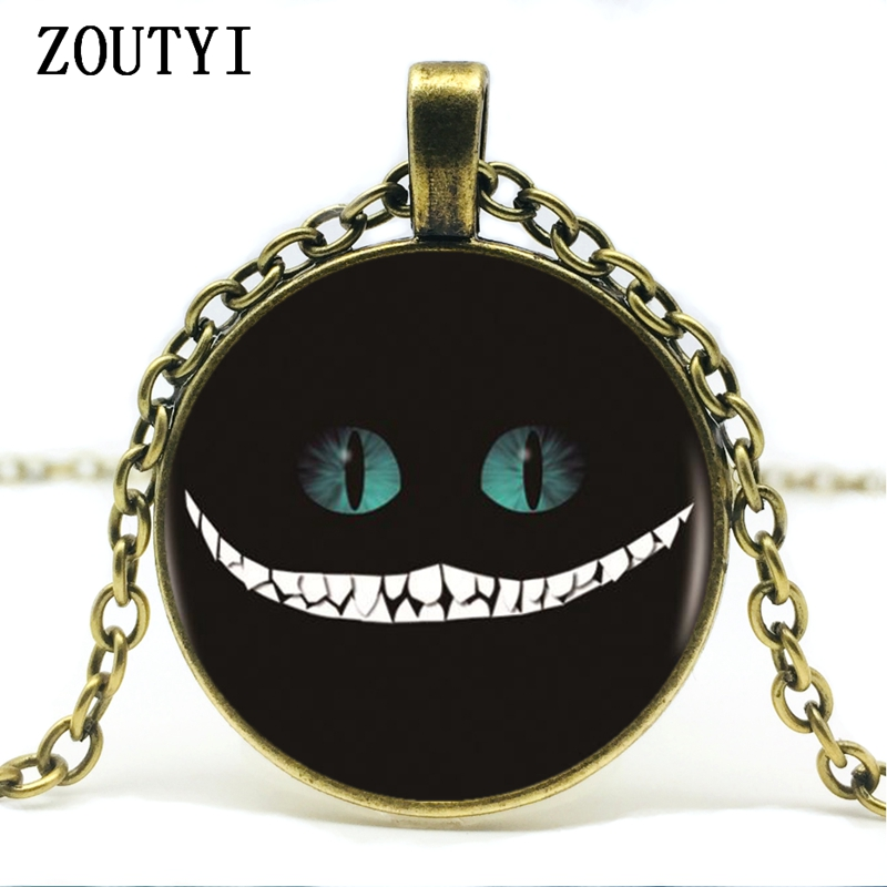 Mens necklace Hot Sale Cheshire Cat Logo Sign Pendant Necklace Prank Retro Glass Pendant Necklace.