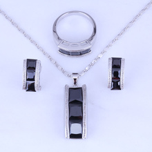 Elegant Black Imitation Onyx Stud Earrings/Pendant Necklace/Rings Silver Color Jewelry Sets Size 6/ 7 / 8 / 9 / 10 H0268
