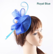 Royal blue teardrop base sinamay bow fascinators ostrich quill hats for women party church cocktail headwear headbands 17 Colors(China)
