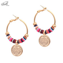 Badu Matte Golden Hoop Earring Women Round Punk Vintage Jewelry Punk Earrings Fashion Gift