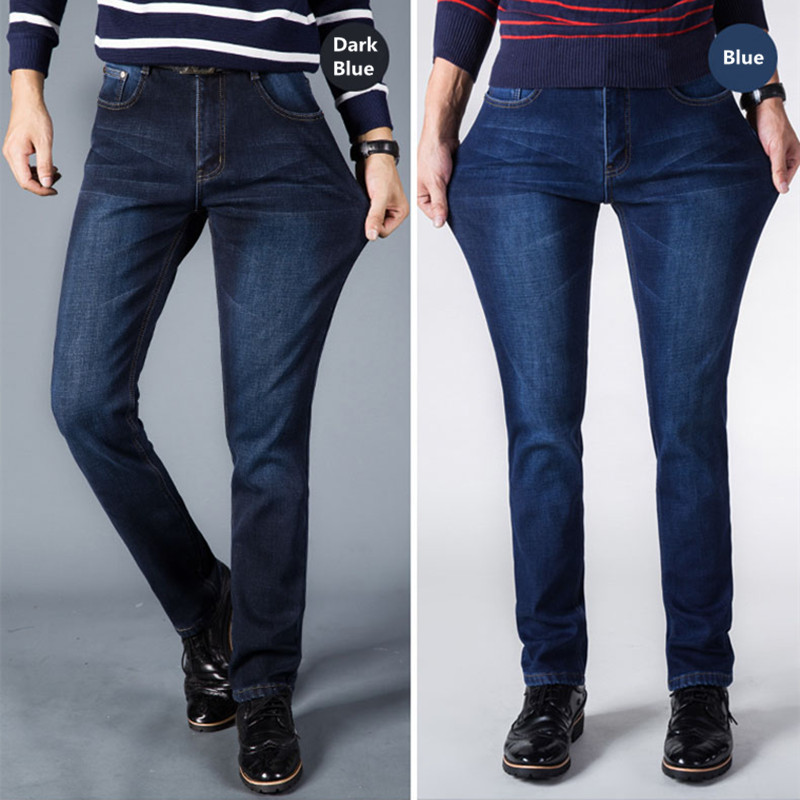 Mens Winter Thicken Stretch Denim Jeans fall Fleece Jean Pants Trousers Size Wool inside Can fit -10 centigrade 2 colors 40 42Одежда и ак�е��уары<br><br><br>Aliexpress