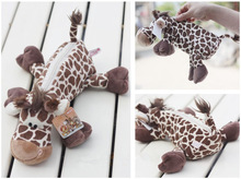 Candice guo NICI new forest animal cute deer giraffe plush school creative pencil bag toy children birthday gift pencilbag 1pc
