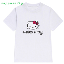 Fashion Hello Kitty cartoon t shirt cool summer women cute shirt Brand Good quality comfortable casual tops(China)