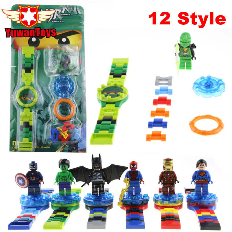 Hot 12 Style Original box Ninja Minifigures Super Hero Building Blocks Watch Bricks Compatible LEPIN Toys Kids Gift In Stock<br><br>Aliexpress
