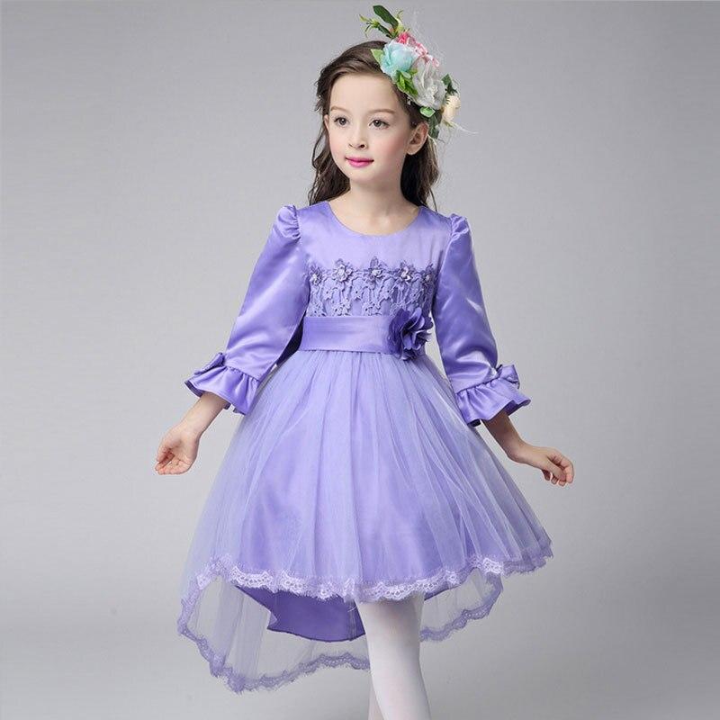 2017 girls dress long-sleeved princess dress childrens flower girl mopping tail dove wedding red piano birthday dress<br>