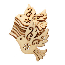 Novelty Exquisite DIY Crafts 10pcs/lot Handicraft Bird Die Cutting Wood Angle DIY Scrapbook Wood Crafts Accessories 38mm*36mm