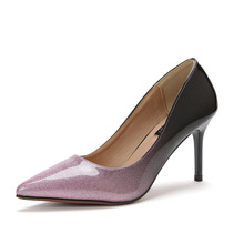 Personality popular sequined high heel shoes with pointy single female 2017 spring new trendy fashion manufacturers(China)