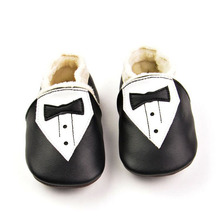 2017 Winter Baby Boy Shoes Soft Sole Handsome Genuine Leather Baby Moccasins with Black Bow