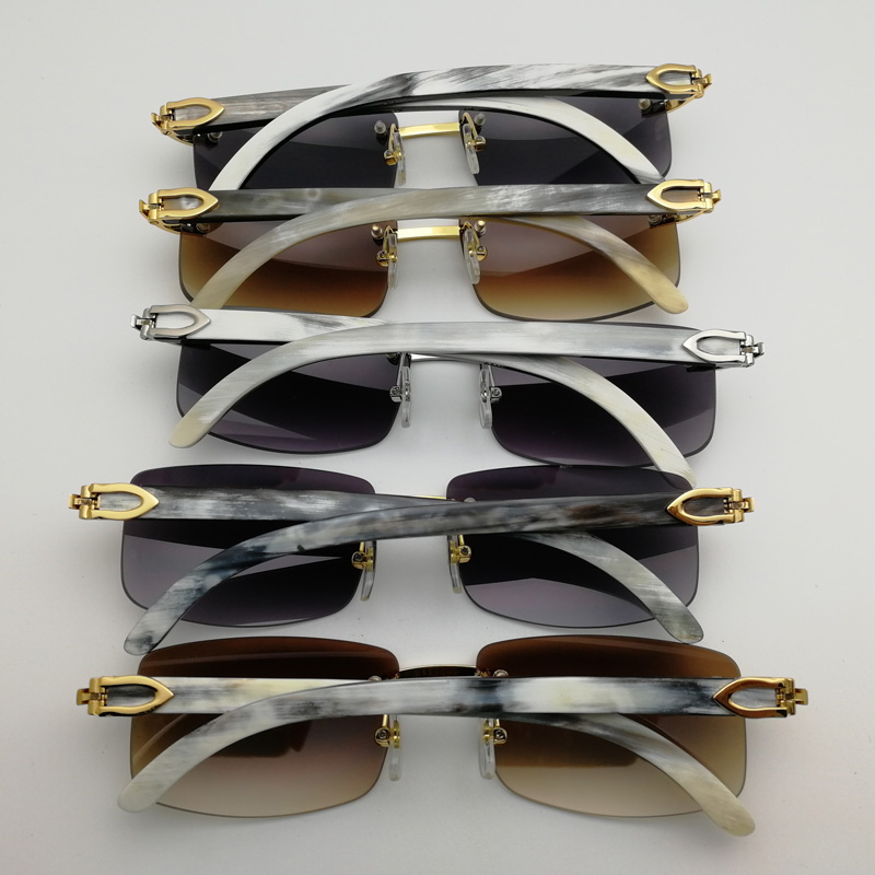 10f52faa50 Natural Black White Buffalo Horn Sunglasses Men Rimless Square Clear ...