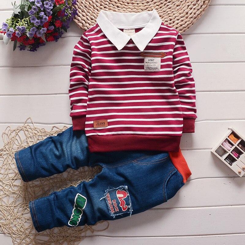 2017 new  Boy 2pcs/set children Clothes set 100%Cotton spring striped Underwear T shirt jeans pants<br><br>Aliexpress