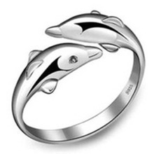 2016  New Fashion Romantic Dolphin Bay Lovers Ring Opening Adjustable Fashion Ring Drop Shipping