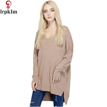 Sweaters 2017 Women Fashion V Neck Full Sleeve Asymmetrical Sweater Spring Winter Very Loose Long Solid Women Sweater YY478(China)