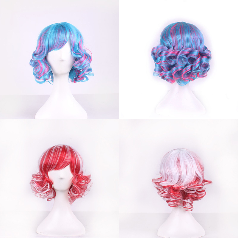 Female Harajuku Cosplay Wig Anime High Quality Womens Red Blue Synthetic Hair Short Curly Blending Wigs Peruca Perruque W254(8)<br><br>Aliexpress