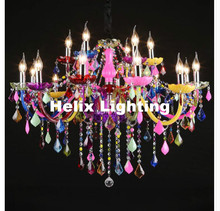 Free Shipping D92cm 18L Colorful Tiffany Crystal Chandelier LED Candelabro for Coffee Shop Bar Kid LED Crystal Chandelier Lamp