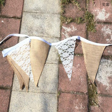 1 Set 3M Lovely Vintage Chic Burlap Linen Lace Bunting Flags Pennant For Party Wedding Garland Decoration Product