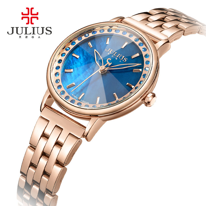 Lady Womens Watch Fashion Hours Clock Rhinestone Bracelet Stainless Steel Chain Business Shell Girl Birthday Gift Julius Box<br>