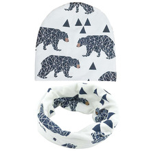 print animal cotton baby hat kids cap beanie & scarf,bonnet enfant hat for 1-3years old children