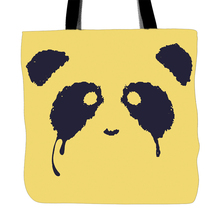 Crying Panda Printed Tote Bag For Shopping Food Convenience Women Shoulder White Canvas Yellow Hand Bags Two Sided Printing(China)
