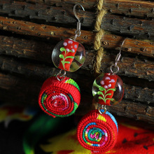 A Handmade Artwork -Chinese wind traditional fabric dangle earrings red, New Original Ethnic jewelry statement earrings(China)
