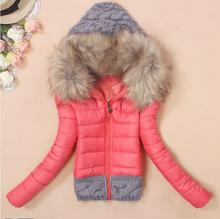 2017 Women Winter Coat Cotton Padded Jacket Short Knitted Hood Fur Collar Womens Winter Jackets and Coats