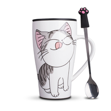 Creative Cat Ceramics Mug With PVC Dust cover super Capacity 500ml Mugs Coffee Milk Tea Cups drinkware in fashion girl Gifts(China)