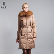 BASIC-EDITIONS Genuine Brand Winter Women Long Jackets Raccoon Fur Hood And Belt Women's Down & Parka Coats 12W-46