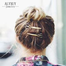 New fashion hairwear gold color cute scissors hair pin  gift for women girl H403