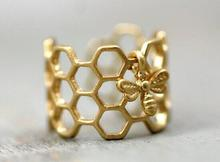 new products sell like hot cakes of cellular ring and little bee, adjustable hexagon ring, lovely bee ring, rings for women