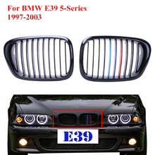 2x Car Front Kidney Grills Grille Lattice For BMW E39 5-Series 525i 528i 530i 535i 540i M5 1997-2003 Gloss Black M Colored #P216