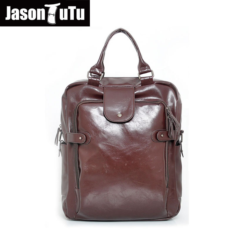 JASON TUTU Brand leather backpack Multifunction travel back pack 14/15 inches laptop backpack mochila B408<br>