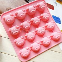16 Holes Cute Pink Cartoon pig Head Shape Silicone Mold DIY  Chocolate Jelly Pudding Handmade Soap Mould