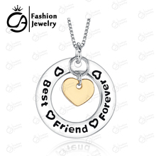 Fashion Best Friends Forever Silver  Plated Circle Gold Heart  Pendant Necklace Women Gift  Statement Necklace #LN927