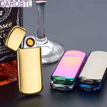 Open ignition double-sided cigarette lighter USB charging ultra-thin windproof lighter High-end gift lighters(China)