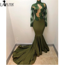 Latest Designs 2017 New Green Long Sleeves Mermaid Sexy Evening Dress Court Train Beaded Lace High Neck Prom Dresses Long Party(China)