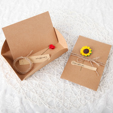 kraft paper handmade dried flower greeting card Christmas New Year blessing universal card