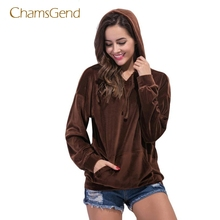 CHAMSGEND Drop Shipping 2017 New Fashion Warm Brown velvet Solid Long Sleeve O-Neck Pullovers moletom Hoodies sweatshirt JUL11